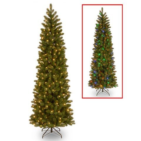 National Tree 7.5 Foot Feel Real Downswept Douglas Fir Pencil Slim Memory-Shape Tree with 350 Low Voltage Dual LED Lights, Hinged (PEDD4-392D-75M)