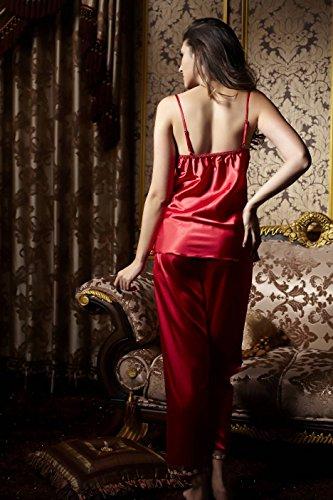 aorui Seda Nightdresses 3Pcs Sets pantalones Rosso