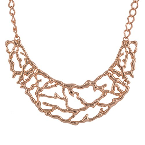 [Real Spark Rose Gold Plated Women Bright Tree Branch Bib Statement Necklace] (Homemade Character Costumes Ideas)