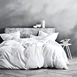 Washed Cotton Chambray Duvet Cover Solid Color Casual Modern Style Bedding Set Relaxed Soft Feel Natural Wrinkled Look (King, White)
