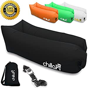 chillax inflatable lounger with carry bag. Black Bedroom Furniture Sets. Home Design Ideas