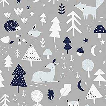 Carousel Designs Silver Gray And Windsor Navy Baby Woodland Fabric By The Yard