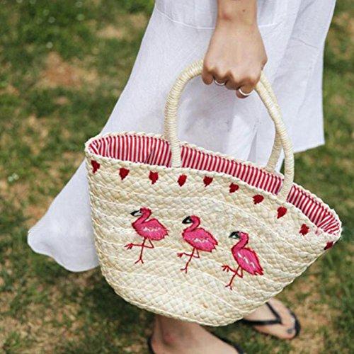 Sac Plage Vacances Tissé Filles pour Sacs Paille Sling Tout Tressée Fourre Élégant Supertop Flamingo Nouvelle Été Femmes Sac Marque Broderie Sac 8R7nxvPUWF