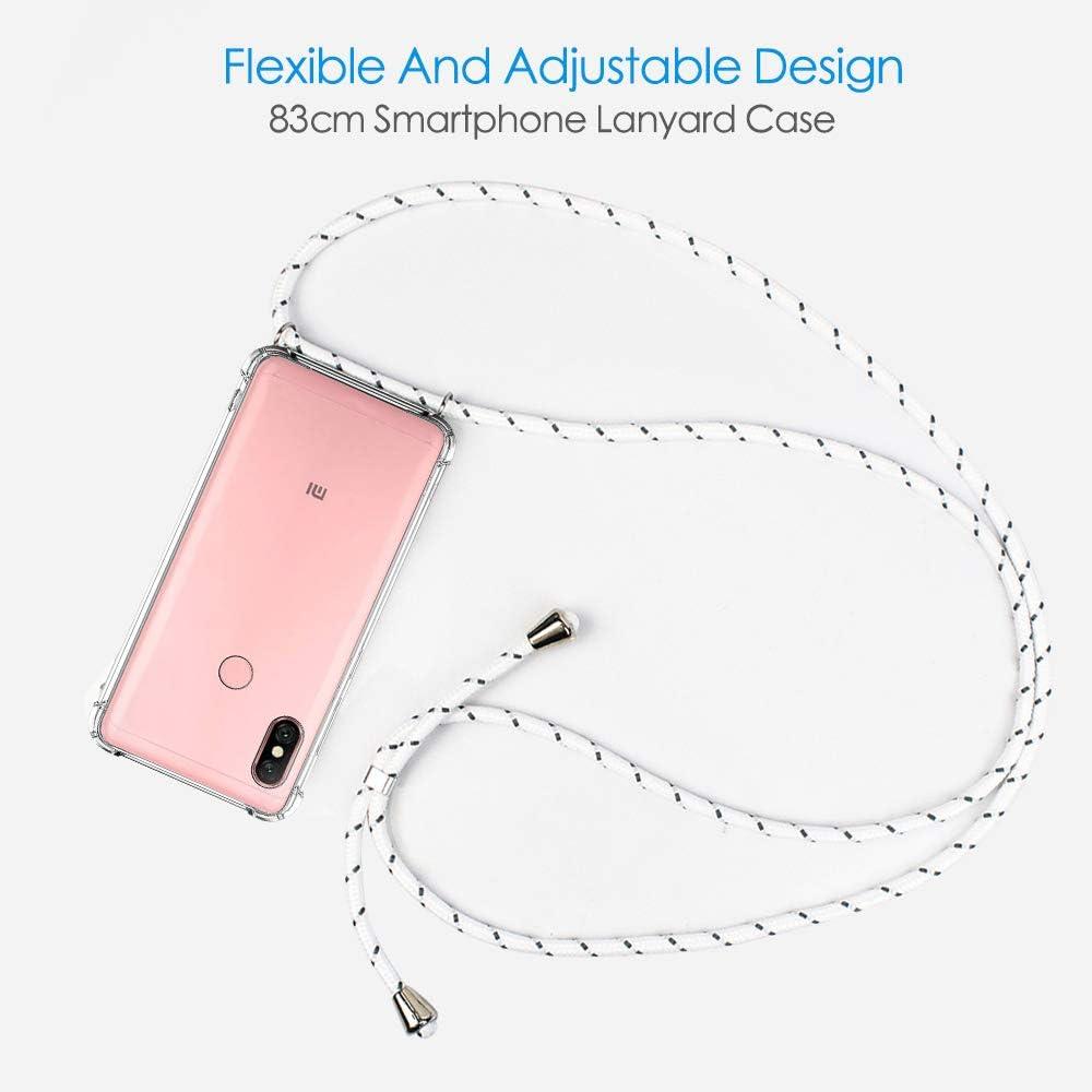 Funda Silicona Transparente con Cordon para Llevar en el Cuello CLM-Tech Carcasa con Cuerda para Colgar Compatible con Xiaomi Mi A2 Lite//Redmi 6 Pro Blanco Gris