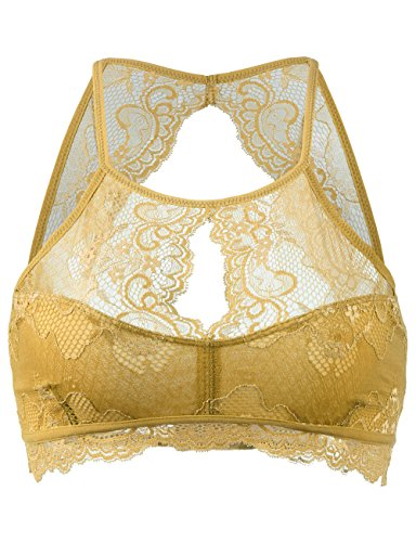 BEKDO Womens Sexy High Neck Lightweight Lace Bralette Top-S/M-Mustard_Gold by BEKDO