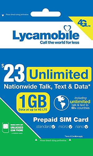 Lycamobile Preloaded Sim Card with $23 Plan Service Plan with Unlimited talk text and - Lycamobile Sim Prepaid
