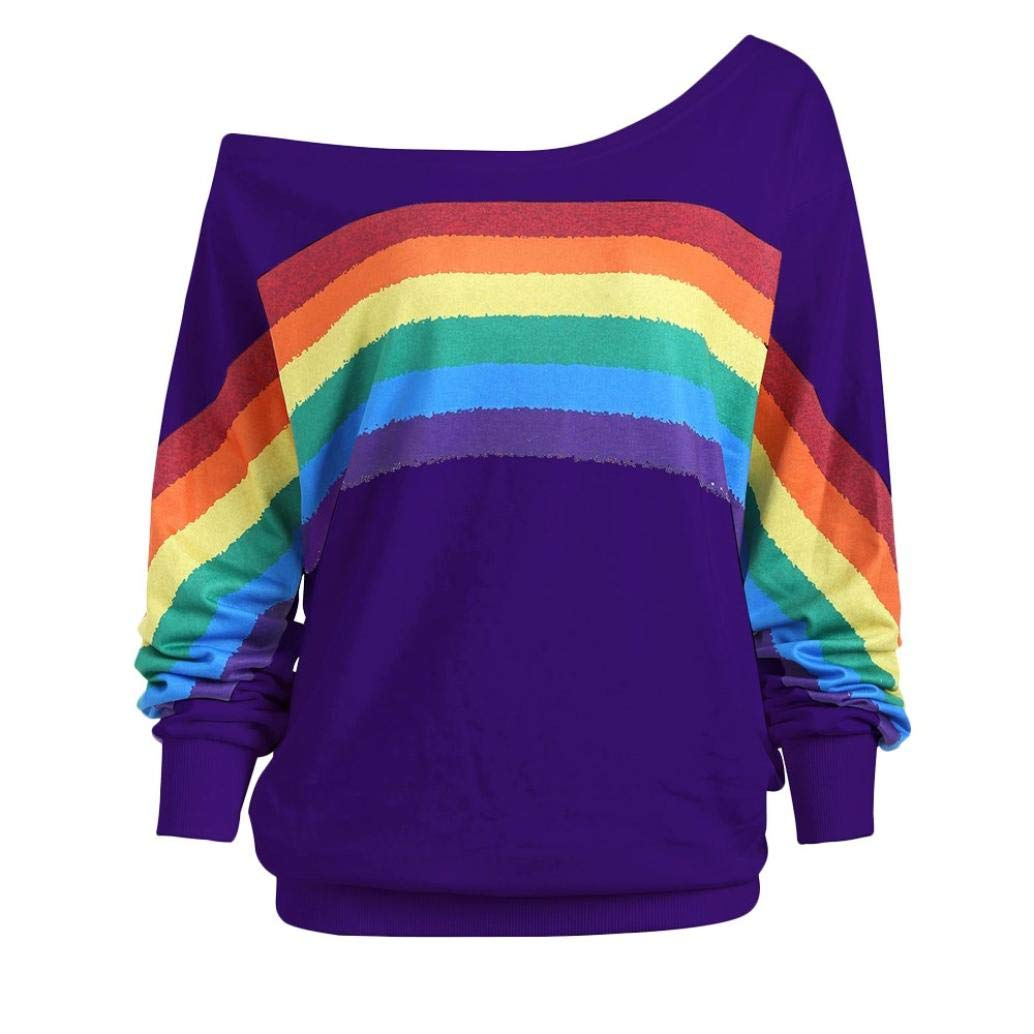 Ankola Slouchy Oversized Sweatshirt Women's Off Shoulder Jumper Long Sleeve Pullover Baggy Rainbow Print Sweater (4XL, Purple)