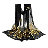 YOMXL Women Peacock Gilded Scarf Shawl Soft Wrap Stole Solid Color Long Scarf Lightweight Head Wrap Shawl Cape (Black)
