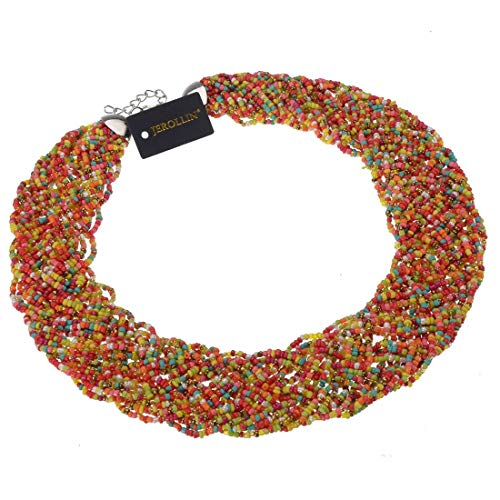 Fashion Chain Choker Collar Necklace Water Drop Olivary Resin Beads Bib Statement Chain Necklace(Colorful) -