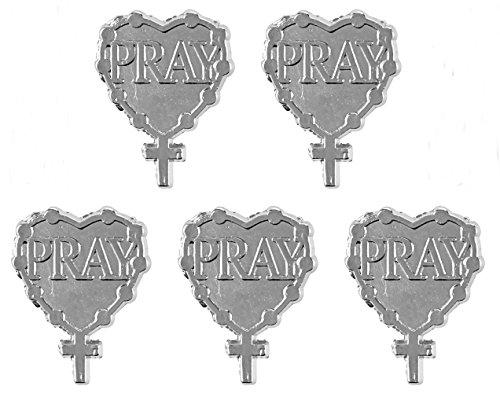 Bulk Silver-Toned Pray Heart Shaped Lapel Pin, Pack of 5, 3/4 Inch ()
