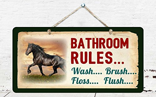 "314HS Horse Bathroom Rules Wash Brush Floss Flush Western Cowboy Sign Rustic Lodge Cabin Decor 5""x10"" Aluminum Hanging Novelty Sign"