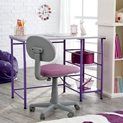 Purple Contemporary Children Study Desk/Table, Large Study Area For  Computer Or Laptop,