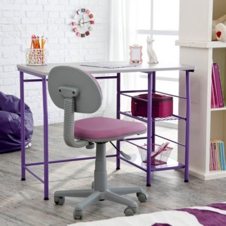Purple Contemporary Children Study Desk/Table, Large Study Area for Computer or Laptop, Great for Small Spaces and Rooms, Set includes Study Zone II Desk & Matching Chair - (39.25W x 24D x 29H inches) by CD-2