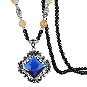 Crystal Beaded Necklace Sweater Long Chain for Women
