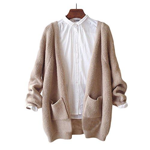 ulricar レディース ニット カーディガン セーター アウター ジャケット ボタン無し ポケット付き シンプル 柔らかい カジュアル 春