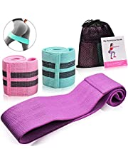 Bernuly Resistance Bands, Exercise Bands Set Fabric Anti Slip Workout Hip Bands Booty Bands for Legs and Butt, Workout Sports Fitness Bands for Body Stretching, Yoga, Pilates, Strength Training