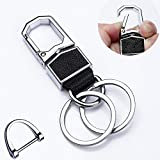Meichen Key Chain with (2 Extra Key Rings and 1 car Key Ring) Heavy Duty Car Keychain for Men and Women (Black)