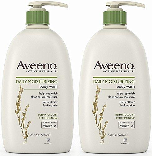 Aveeno Active Naturals Body Wash - Daily Moisturizing - Net Wt. 33 FL OZ (975 mL) Per Bottle - Pack of 2 Bottles ()
