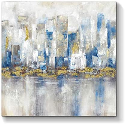 Abstract City Wall Art Artwork Modern Cityscape Picture Hand Painted Painting on Canvas for Wall 36 x 36 x 1 Panel