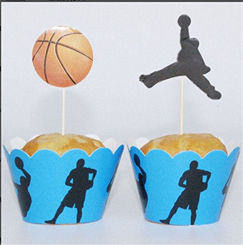 Yunko Set of 24 Playing Basketball Cake Cupcake Decorative Cupcake Topper for Kids Birthday Party Themed Party Baby - Basketball Cups Party