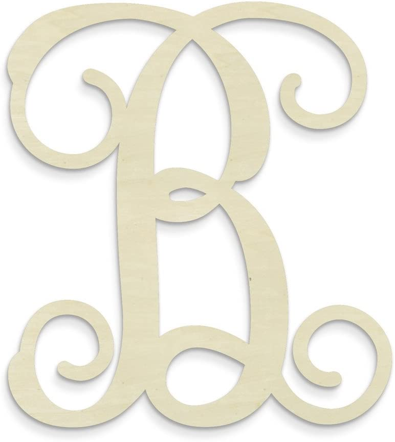 "UNFINISHEDWOODCO Single Vine Unfinished Monogram ""B"" Decorative Letter, 13-Inch"
