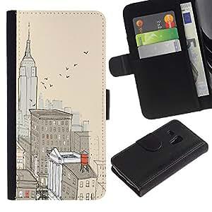 Paccase / Billetera de Cuero Caso del tirón Titular de la tarjeta Carcasa Funda para - City New York Painting Empire Building - Samsung Galaxy S3 MINI NOT REGULAR! I8190 I8190N