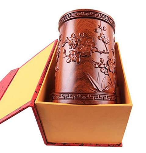 High-grade Red Sandal Wood Chinese Writing Brush Pot Pen & Pencil Container/holder/case Carving Magpies and Plum Flower with Box Home & Office Decor by Charming China Calligraphy and Painting Tools