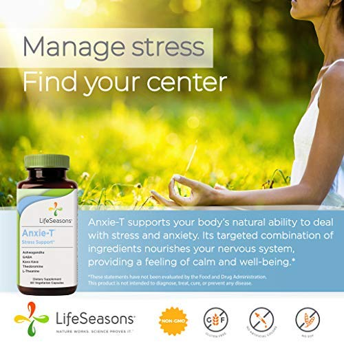Anxie-T - Anti Anxiety Support Supplements That Combat Stress - Calm and Stress Supplement - Feel More Relaxed - Contains Kava Kava, GABA, L-Theanine - Regular Size (60 Capsules) - Life Seasons