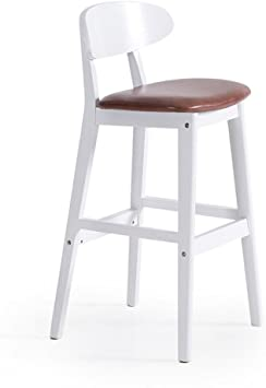 Barstools MAZHONG Solid Wood Bar Chair/high Back And Luxury Upholstered Seat (Color : B)