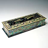 Mother of Pearl Inlay Wooden Fish Desk Desktop Pen Pencil Brush Cup Case Box Holder
