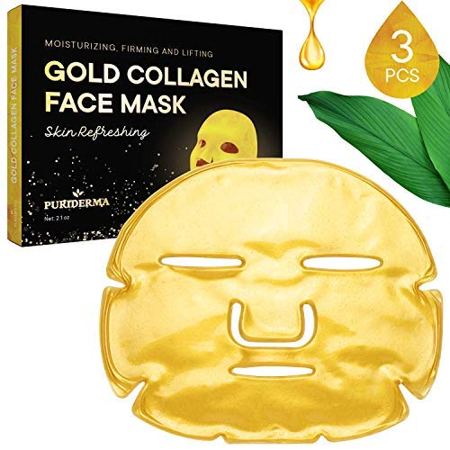 (Puriderma Collagen Crystal Gold Facial Mask, Natural & Gentle Formula for Moisturizing, Anti-Aging, Anti-Wrinkle, Oil Control, Pore Reduction  (3 Pack))