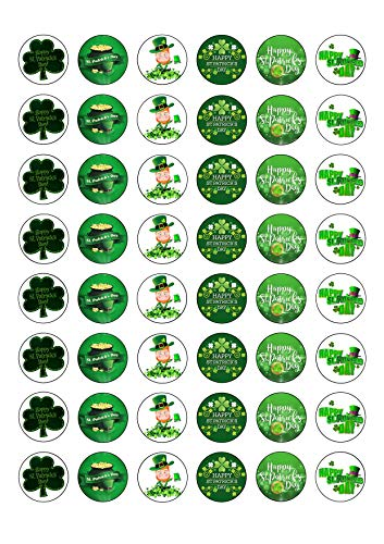 48 St Patricks Day Themed Edible Wafer Paper Round Cake Toppers Decorations
