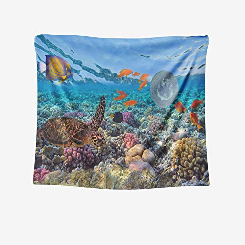 Capsceoll Large 80x60 Inches Ocean Tapestry by Green Turtle Coral Reef Scene Tropical Fish Red Sea mydas Egypt Tapestries Wall Art for Décor Dorm Bedroom Living Home