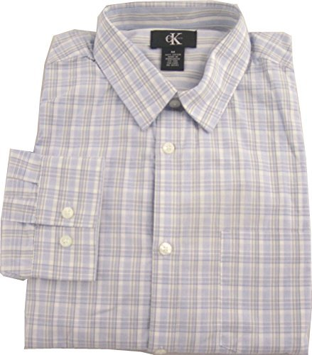 Brushed Cotton Check Mens - Calvin Klein Men's Brushed Cotton Sport Shirt-Blue Check, Large