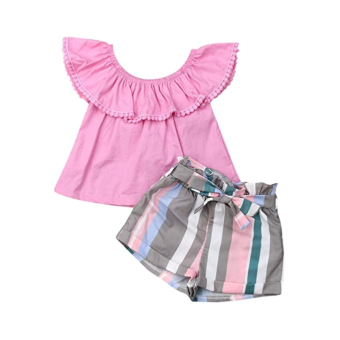 Kids Baby Girls Outfits Floral Ruffle Off Shoulder Crop Tops Bowknot Denim Shorts Skirt Set Toddler Summer Clothes