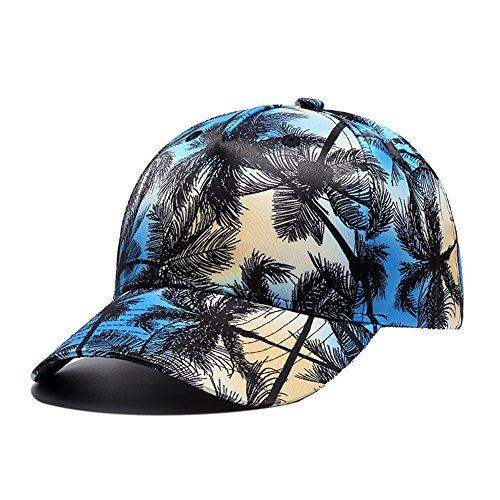 - Hawaii Coconut Tree Print 6 Panel Snapback Hat, Fashion Unisex Vintage Adjustable Baseball Cap (Blue Black)