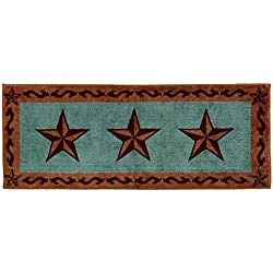 HiEnd Accents Western Star Print Rug, 24 60-Inch, Turquoise