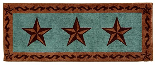 Western Bath Decor (HiEnd Accents Western Star Print Rug, 24 by 60-Inch, Turquoise)