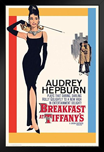 Pyramid America Breakfast at Tiffanys Audrey Hepburn Movie Framed Poster 14x20 inch by Pyramid America