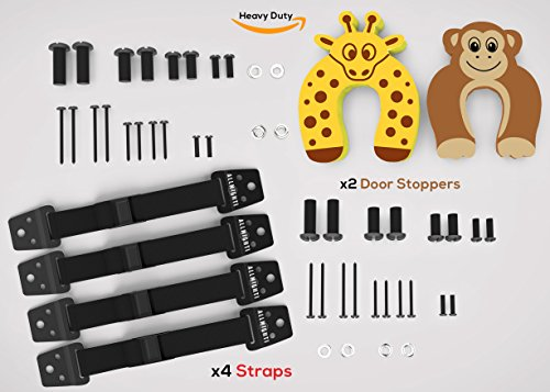 Baby Proofing Furniture & TV Safety Wall Straps (200Lbs Per Strap)| x4 Heavy Duty Metal Straps and x2 Door Stoppers (Dresser Repair Kits compare prices)