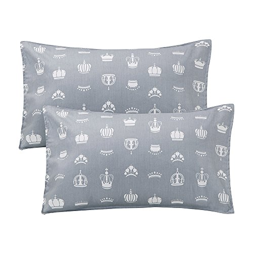 "LIFEREVO 100% Cotton Toddler Pillowcases Set of 2 - Crown Print Envelope Closure End - Fits Baby Head Pillow Sized 13""x18"", 14""x19"", Gray from LIFEREVO"