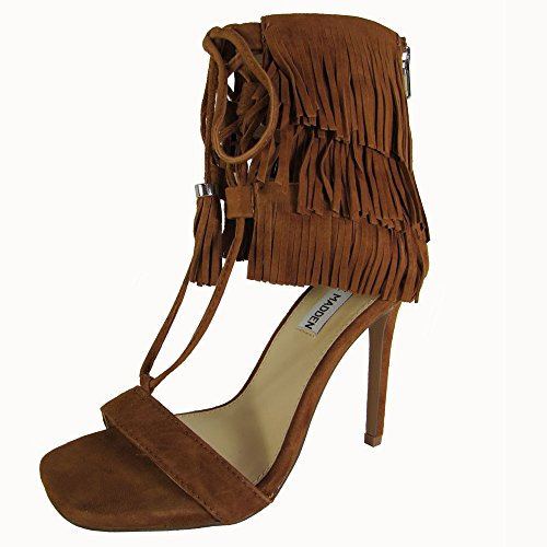Boho-Chic Vacation & Fall Looks - Standard & Plus Size Styless - Steve Madden Women's Shay Dress Sandal, Chestnut Suede, 8.5 M US
