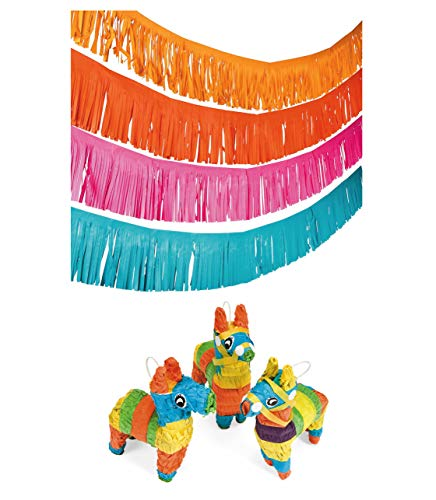 Fun Express Llama Loot Party Bundle | Fringe Garland & Mini Llama Piñatas | Great for Boho, Cinco de Mayo, Fiesta Themed Parties