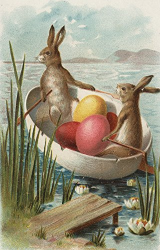 Easter - Bunnies in a Boat Colored Eggs - Vintage Holiday Art
