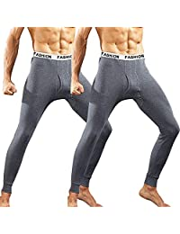 INIBUD 2 Pack Mens Thermal Underwear Lightweight Wear Long Johns Thermal Pants Cotton