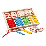 Wooden Number Cards and Counting Rods with Box