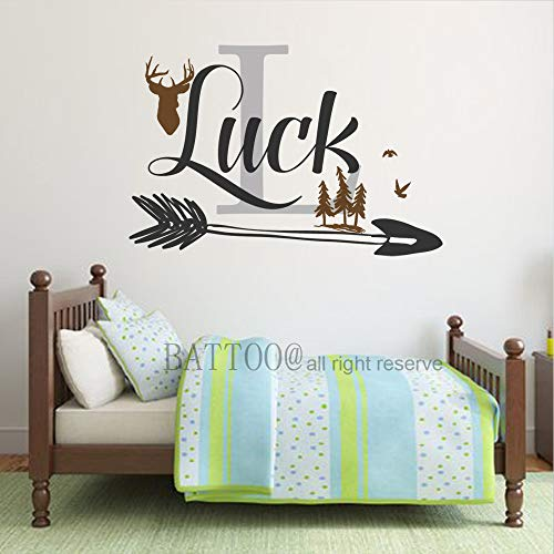 Personalized Deer Antlers Name Wall Decal Hunting Woodland Nursery Decor Arrow Name Decal Forest Nursery Baby Boys Girls Room Decor Plus Free Hello Door Decal, 32