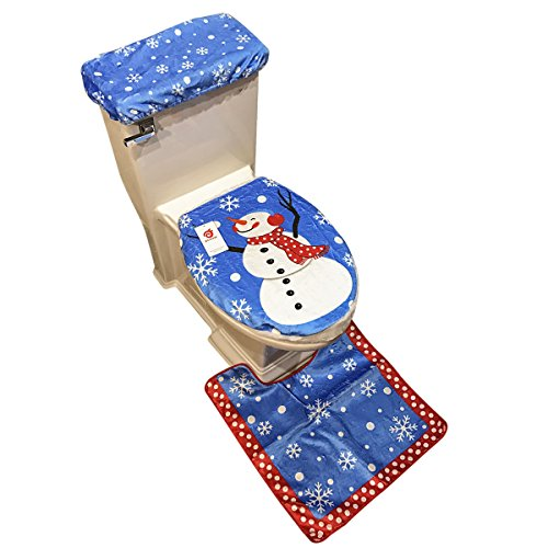 D-FantiX Snowman Santa Toilet Seat Cover and Rug Set Blue Christmas Decorations Bathroom Set of 3
