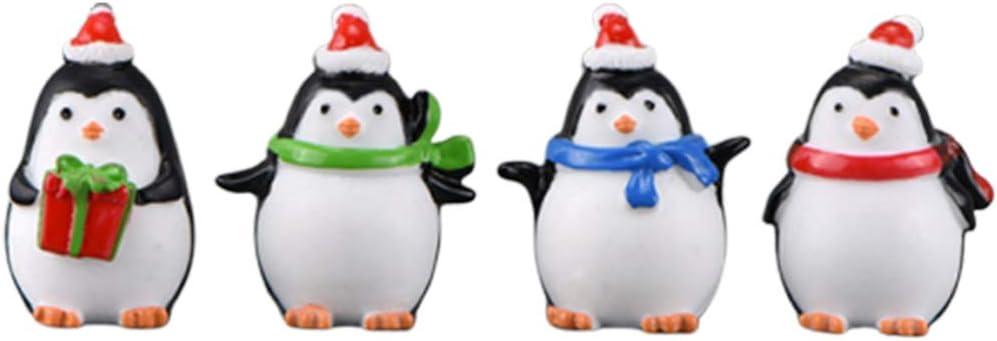 HEALLILY 4Pcs Christmas Miniature Ornaments Kit Mini Resin Penguin Figurines Fairy Garden Dollhouse Adornment Bonsai Micro Landscape Decoration for Xmas Gift
