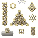 New 132pcs Magnet Construction Set, Magnetic Stick Real Gold Plating Balls Building Blocks Fidget Toys, Metal Puzzle Office Desk Game with Instruction Booklet for Kids and Adults (Upgrade)
